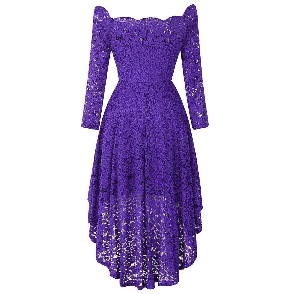 Dainzuy Women's Vintage Floral Lace Bridesmaid Dress 3/4 Sleeve Wedding Party Cocktail Dress Off Shoulder Maxi Dresses Purple by Dainzuy