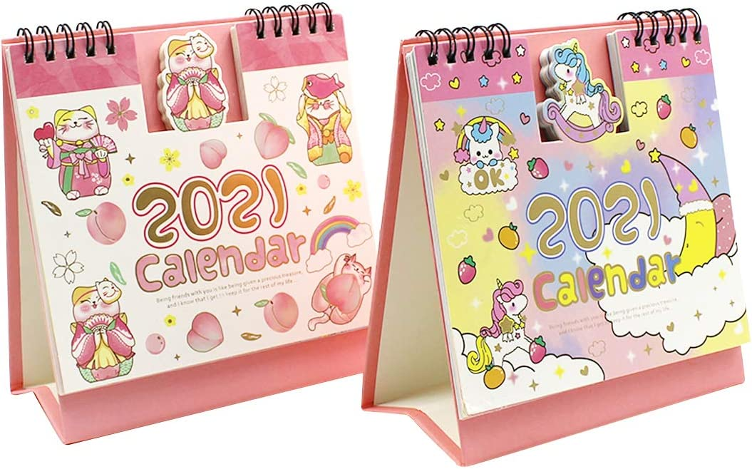 2PCS Cartoon Animal Scenery Flip Desk Calendar 2020-2021 Daily Monthly Desktop Table Planner Agenda Memo