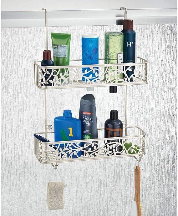 mDesign Cesta de ducha para la mampara – Estante para ducha sin ...