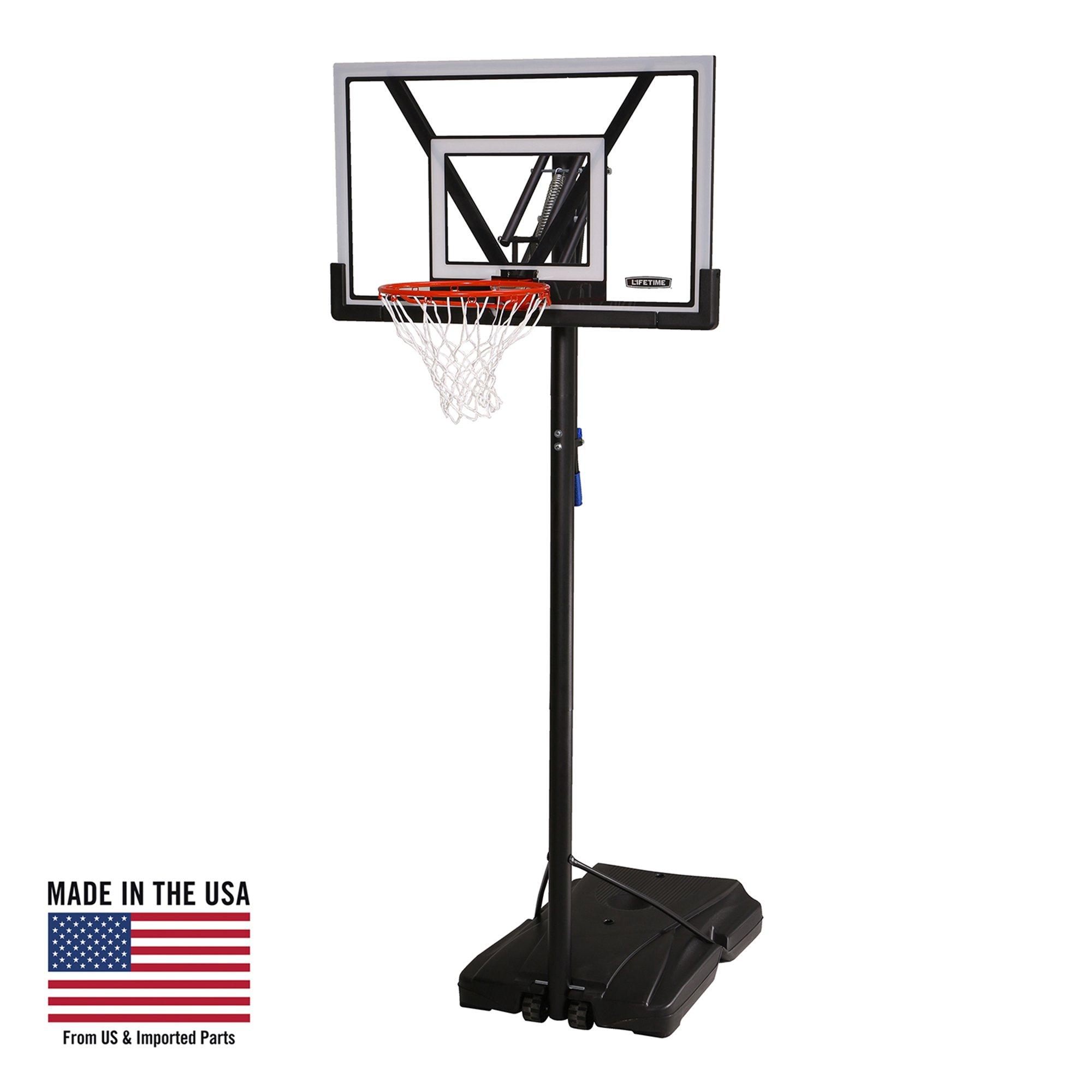 Lifetime 90585 Portable Basketball System, 48 Inch Polycarbonate Shatterproof Backboard - Gray