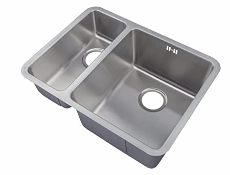 Undermount Stainless Steel 1.5 Bowls Kitchen Sinks & Waste Kit (D03