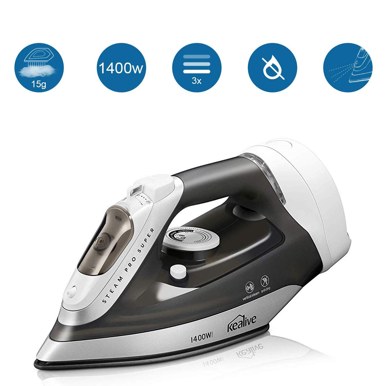 kealive Steam Iron, Omnipotent Professional Large Anti-Drip Nonstick Iron, Vertical Steam Burst Clothes Iron, Anti-Calcium System, Self-Clean, Retractable Cord, Steam Control by kealive