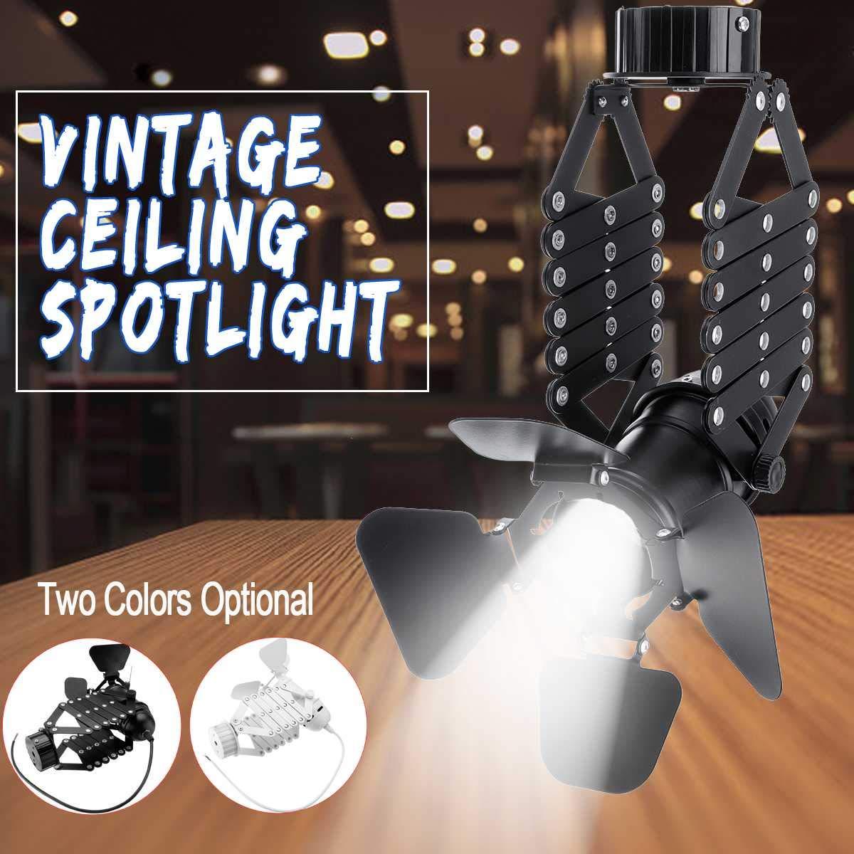 Bestchoice - 220V E27 110Lm Industrial Vintage Iron Track Pendant Ceiling Lamp Adjustable LED Spotlight White Black For 8-10 Square Meter