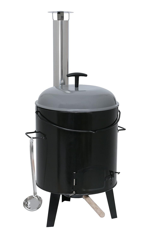 Kamino-Flam Eintopfofen mit Grillfunktion 17 l - Gulaschkanone aus Stahlblech emailliert - Gulaschkessel-Set 6-teilig - Suppenkessel Dreibein inkl. Zubehör - Ungarischer Gulaschkessel - Outdoor-Küche 125847
