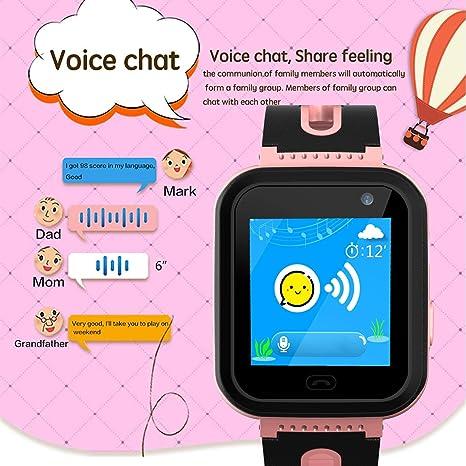 Smartwatch Impermeable para niños para niñas - IP67 Resistente al Agua para niños SmartWatch con GPS/lbs Tracker SOS Camera Anti-Juego perdido para ...