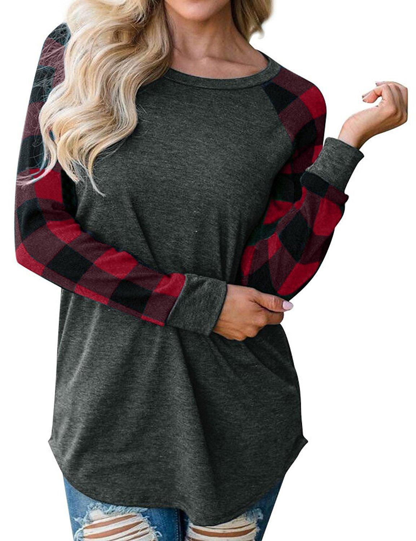 Inorin Womens Raglan Shirts Long Sleeve Crew Neck Plaid Sweatshirts Fall Tunic Casual Tops