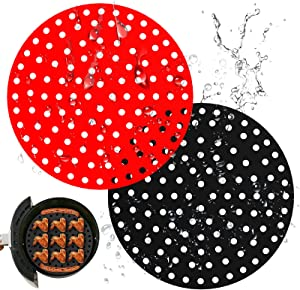 Air Fryer Liners, AUNCLEY 2PCS 9 Inch Round Reusable Silicone Air Fryer Basket Mats, Non-Stick Accessories Ideal for Ninja, Gourmia, Power XL, NuWave Air Fryer Accessories