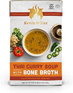 product image for Thai Curry Soup with Chicken Bone Broth by Kettle and Fire, Pack of 2, Paleo, Gluten Free Collagen Soup on the Go, 18g of protein, 16.9 fl oz