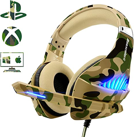 Pro Gamer PS4 Headset for PlayStation 4 Xbox One /& PC Computer Camo Headphones