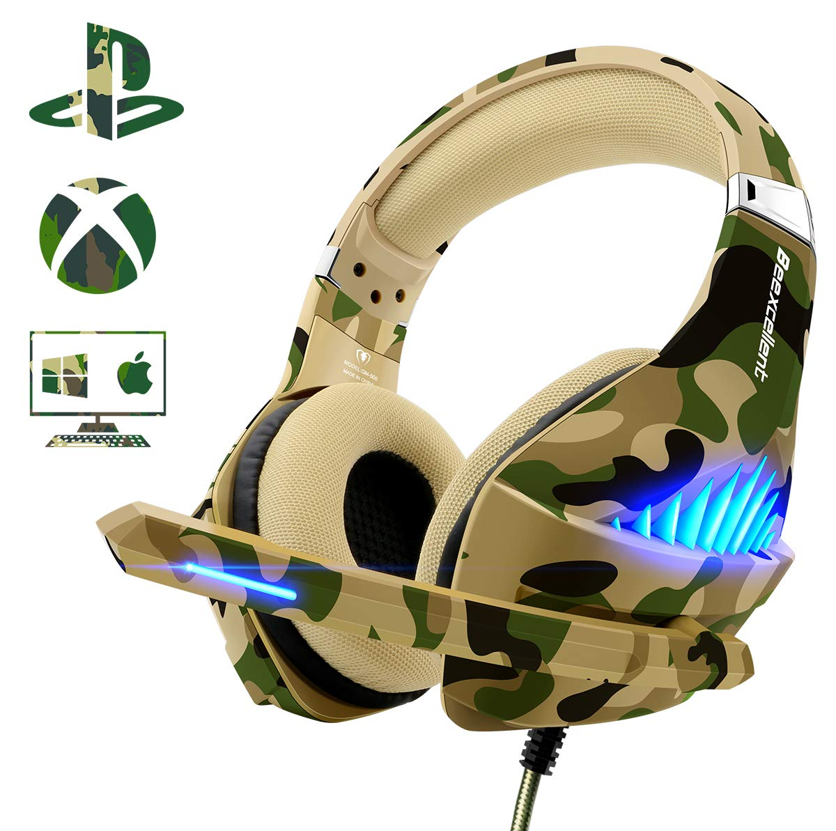 Gaming Headset for PS4 Xbox One PC, Beexcellent Deep Bass PS4 Headset with Noise Immunity Mic, LED Light, Friction-Reduction Cable, High Comfort Earmuff-Camo by Beexcellent