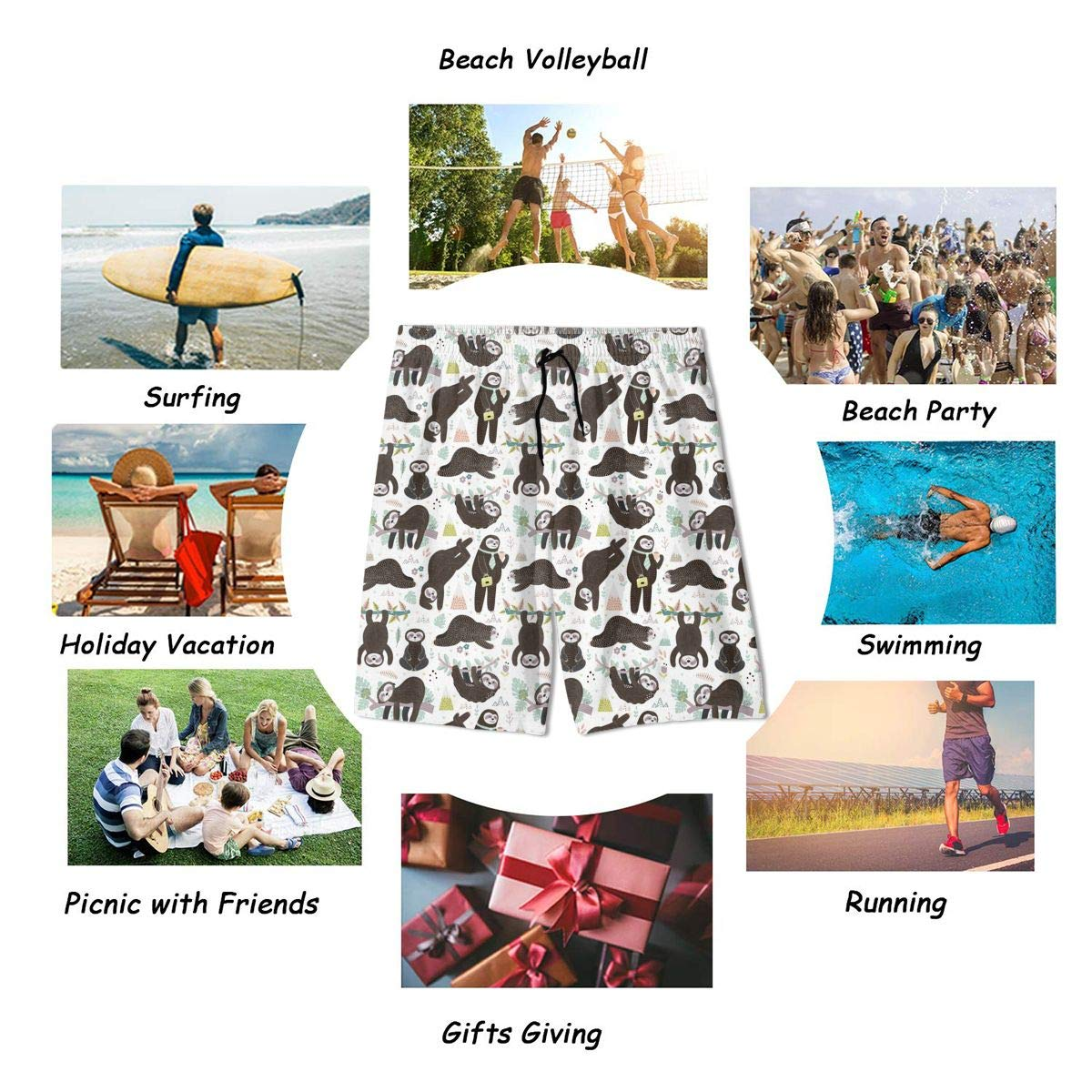 GI80@KU Youth Casual Beach Shorts Polyester Cute Sleeping Sloths Pattern Board Shorts with Pockets