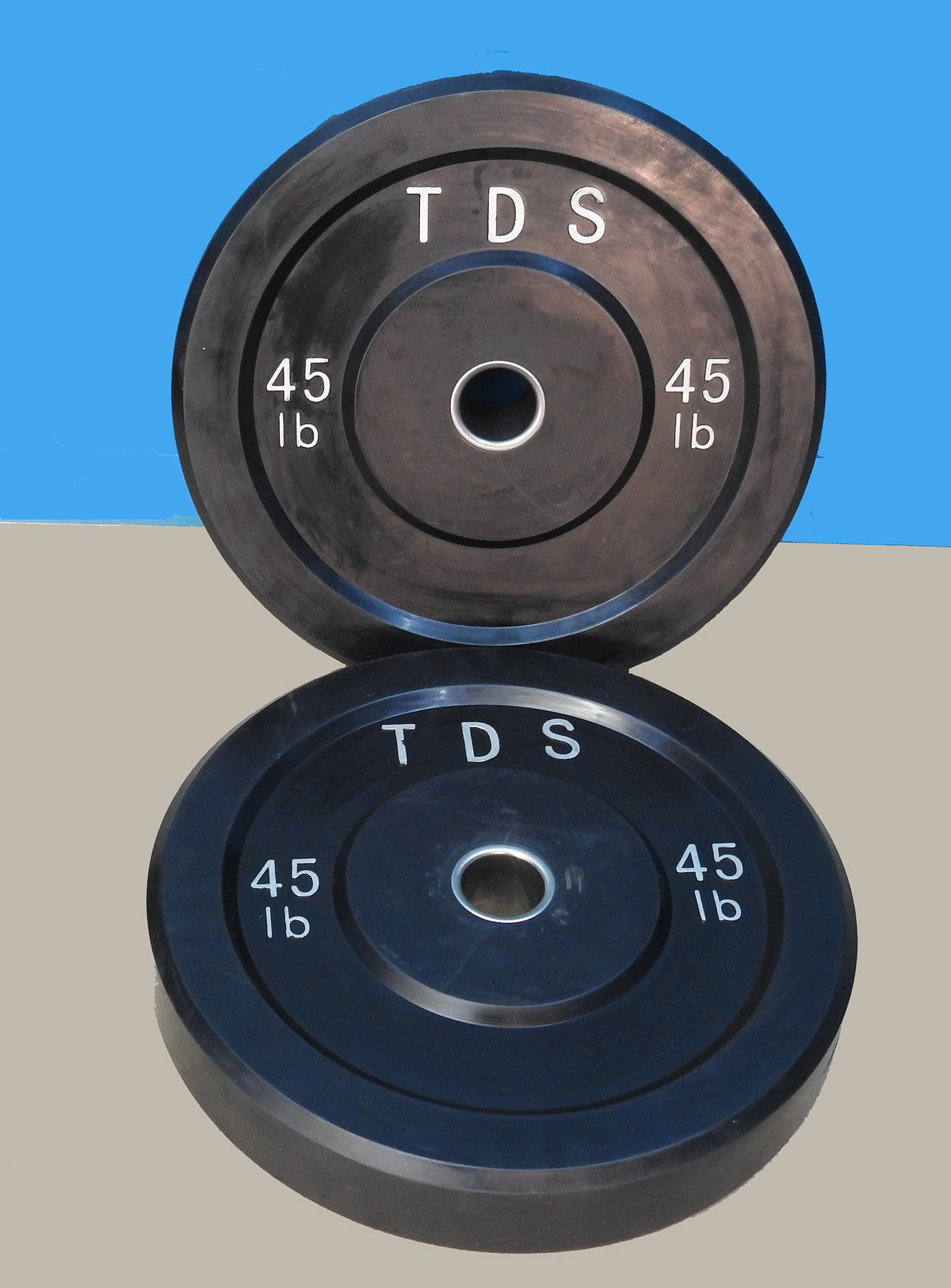 TDS 90lbs (2 x 45lb) Virgin All Rubber Bumper Plates. Designed for CrossFit workout and Fitness Training. (Purpose of placing Steel plates inside is only to reduce production costs, will split soon.)