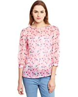 The Gud Look The Gud Look Chiffon Floral Print Sheer Top - Multi
