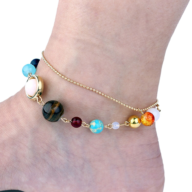 Ogemluv Système Solaire Double Couche Cheville pour Femme Filles Plage Bracelets de Cheville B07DDMBWYF_US