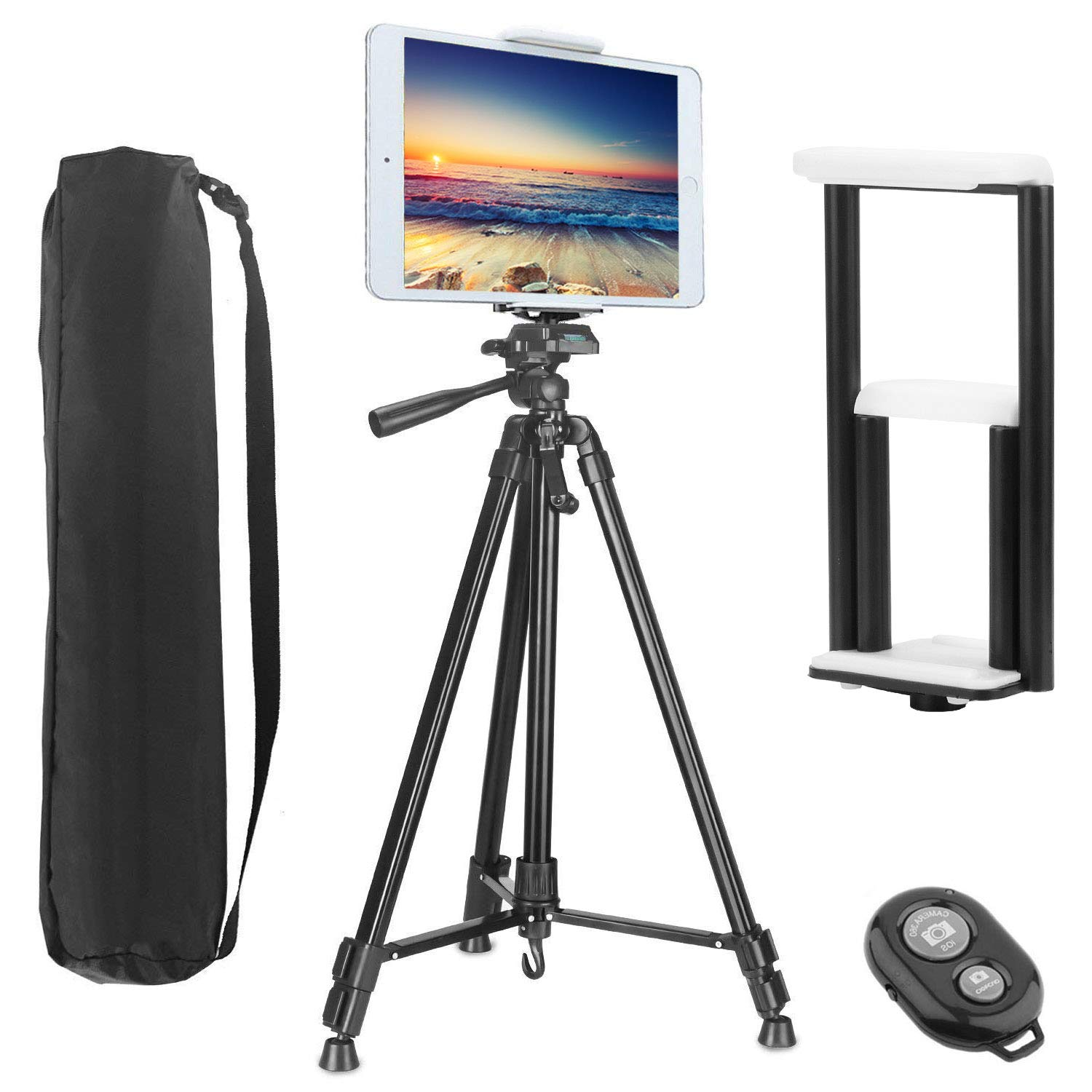 PEYOU Compatible for iPad iPhone Tripod,62 inch Lightweight Aluminum Phone Camera Tablet Tripod + Wireless Remote + 2 in 1 Mount Holder Compatible for Smartphone (Width 2-3.3''),Tablet (Width 4.3-7.2'')