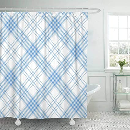 Emvency Fabric Shower Curtain With Hooks Gingham Plaid Pattern Checkered In Stripes Of Light Azure Blue