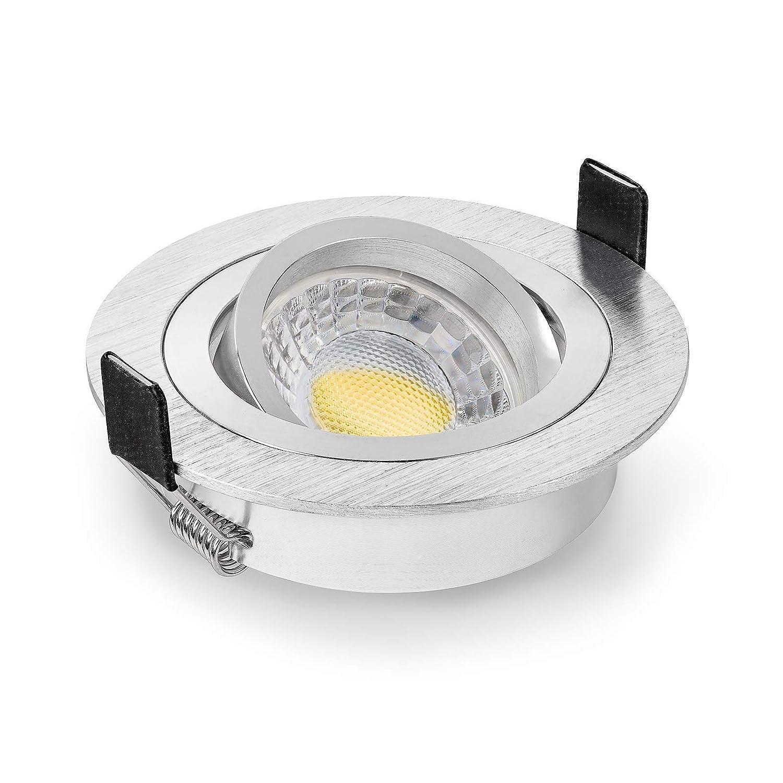 10 x LED Einbaustrahler Set von LEDOX dimmbar & schwenkbar inkl. Einbaurahmen   230V 7W GU10 warm-weiß (3000K 10er Set)