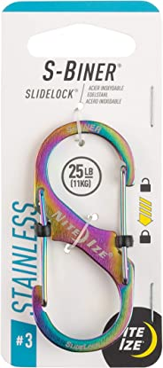 Nite Ize LSB3-07-R3 S-Biner SlideLock Stainless Steel Dual Locking Carabiner, 3, Spectrum