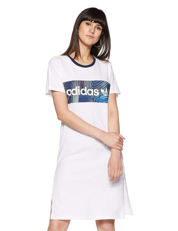 Adidas Originals Womens Womens Blue Geology Boyfriend Tee Dress In