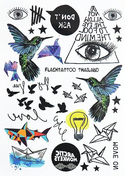 Estilo Boho Tatuaje temporal tatuajes de flash colibrí Tatuajes ...