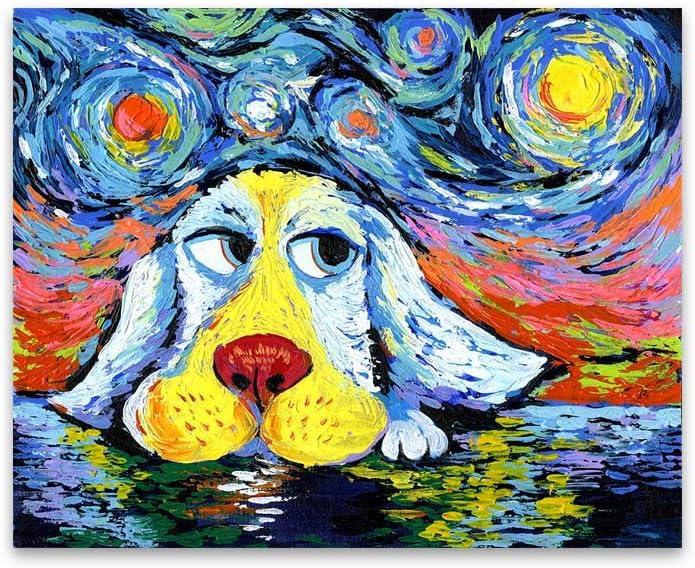 Dibujos animados de animales Linda mascota mirando cielo nocturno estrellado Nubes Lienzo Pintura Graffiti Arte de la pared Imagen Póster Sala de estar Dormitorio Aseo Tienda Decoración del hogar
