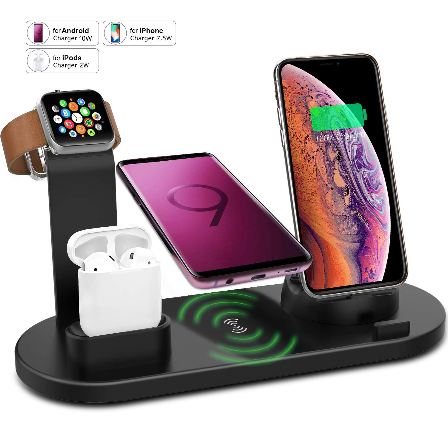 Wireless Charger Stand for iPhone Apple Watch Airpods, VRURC 3 in 1 Wireless Charging Dock Station Qi Fast Charging Pad for iPhone X/XS/XR/8/8 Plus for iWatch 4/3/2/1 S9 by ALLVCOVER