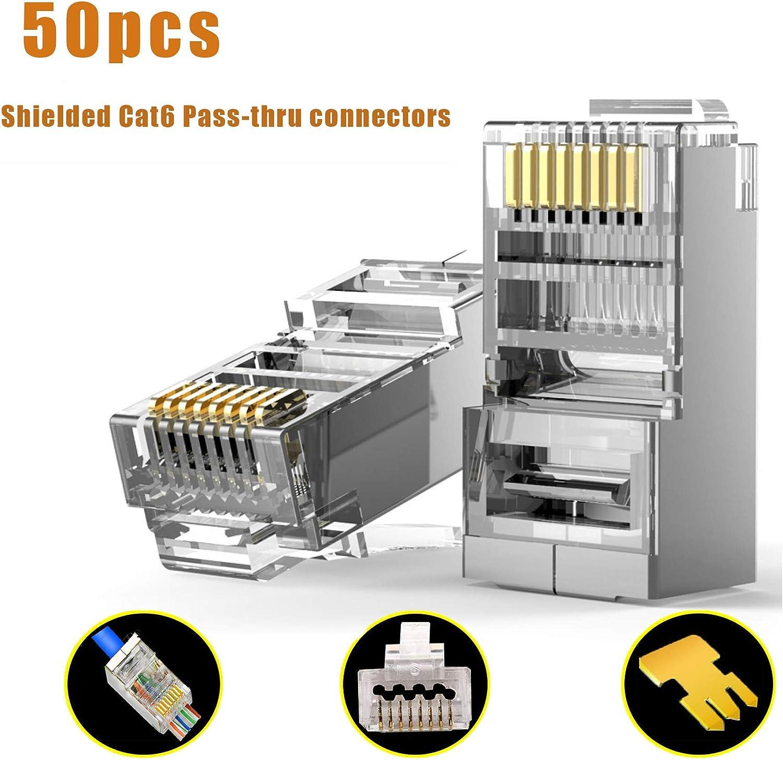 50pcs Rj45 Connector Cat6 Gold Plated 8P8C Metal Shielded Ethernet Plug Blue