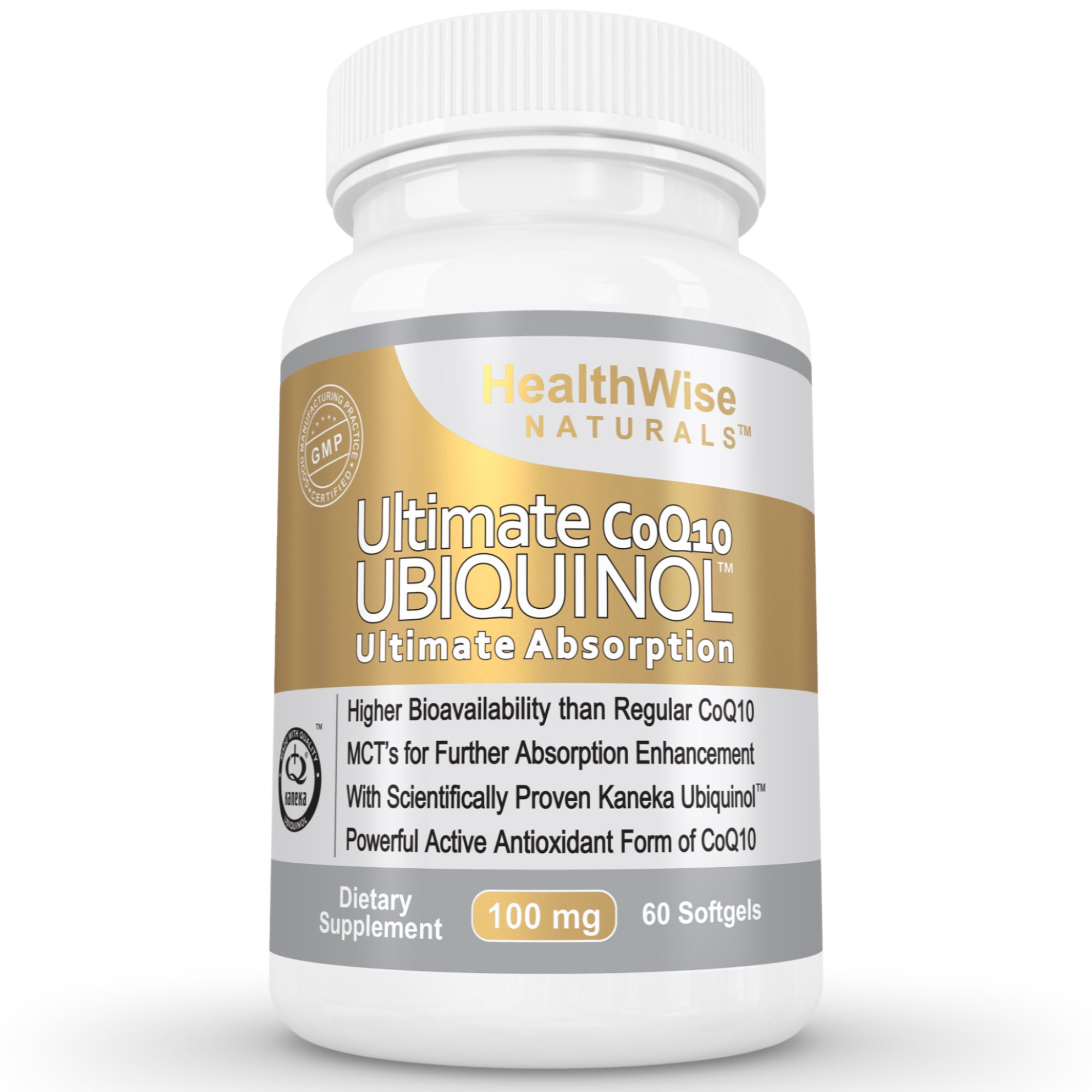 Ultimate CoQ10 UBIQUINOL 100mg - Over 4X More Effective: Maximum Absorption & Potency - Non-GMO/Soy Free - Kaneka QH - Supreme Cardiovascular, Antioxidant & Anti-Aging Supplement - 60 Liquid Softgels