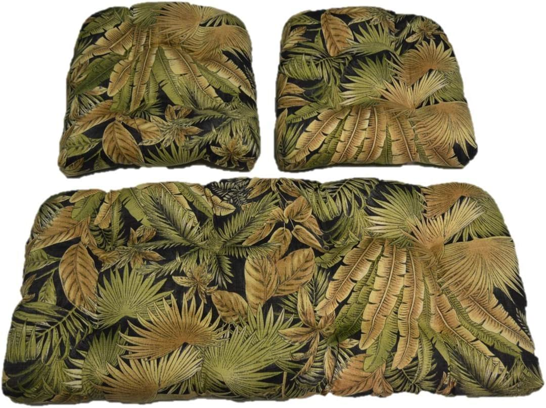 Resort Spa Home Decor Made with Tommy Bahama Black Green Tan Tropical Palm Leaf Bahama Breeze Cushions for Wicker Loveseat Settee & 2 Matching Chair Cushions