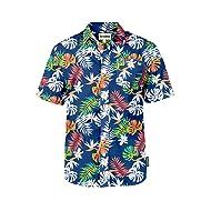 Tipsy Elves Men's Bright Colored Button Down Hawaiian Shirt - Loud Print Aloha Shirt