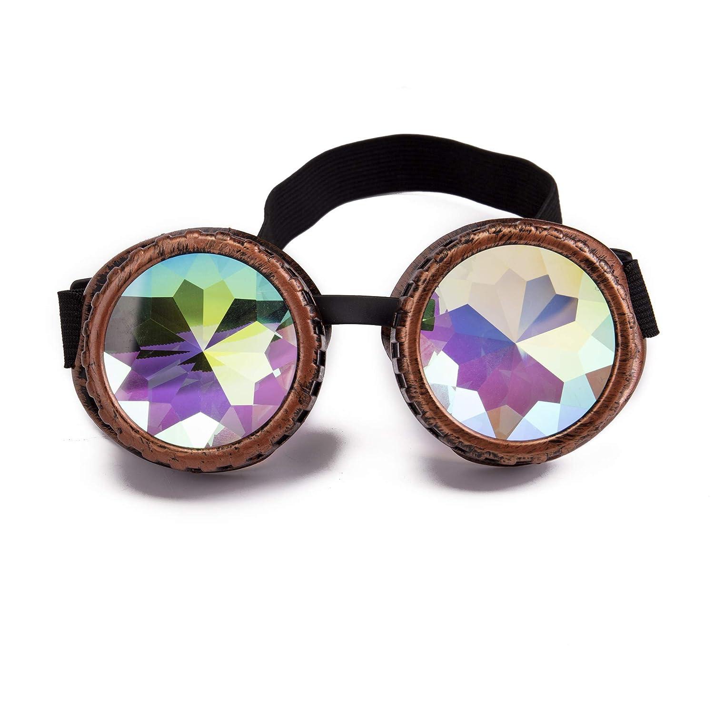 Zaiqun Retro Goggles With Light Vintage Steampunk Glasses Rave