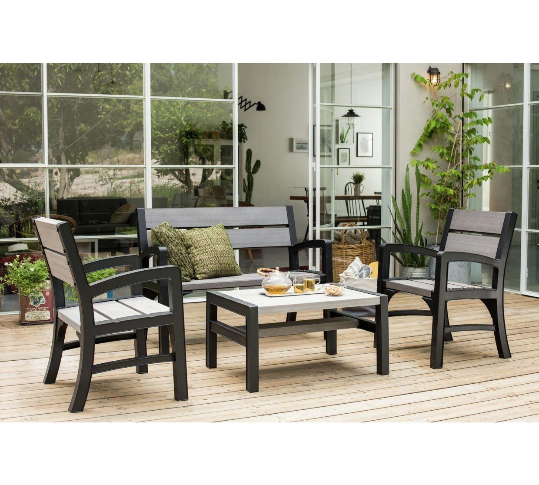 Keter Montero Wood Look 2-Seater Outdoor Garden Furniture Bench, Soft Grey 17204654