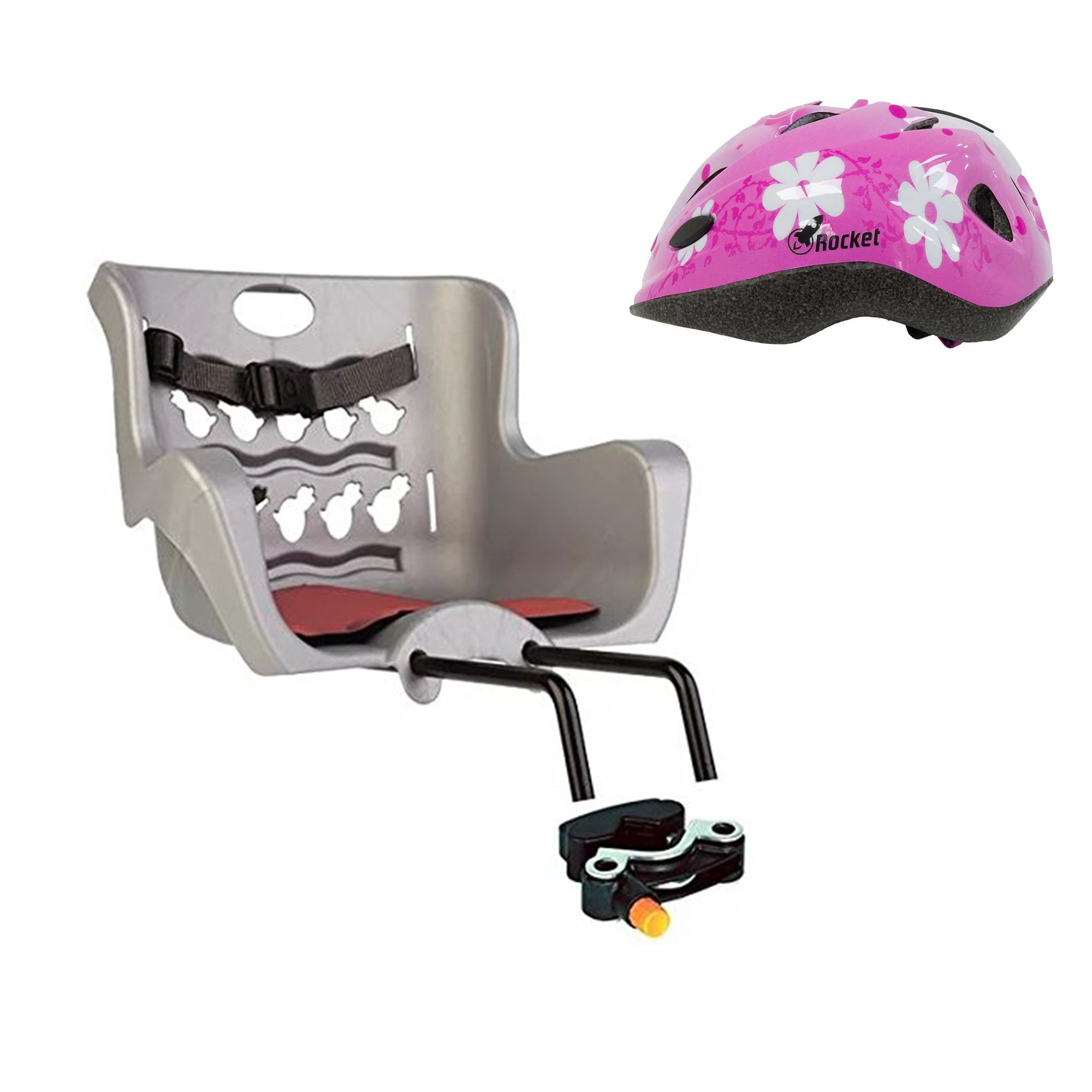 Bellelli Pulcino Bicycle Child Seat Child Carrier For Bikes Mount On Front Fork Made In Italy Super And Super Safe For Your Child (Gray + Pink Helmet)