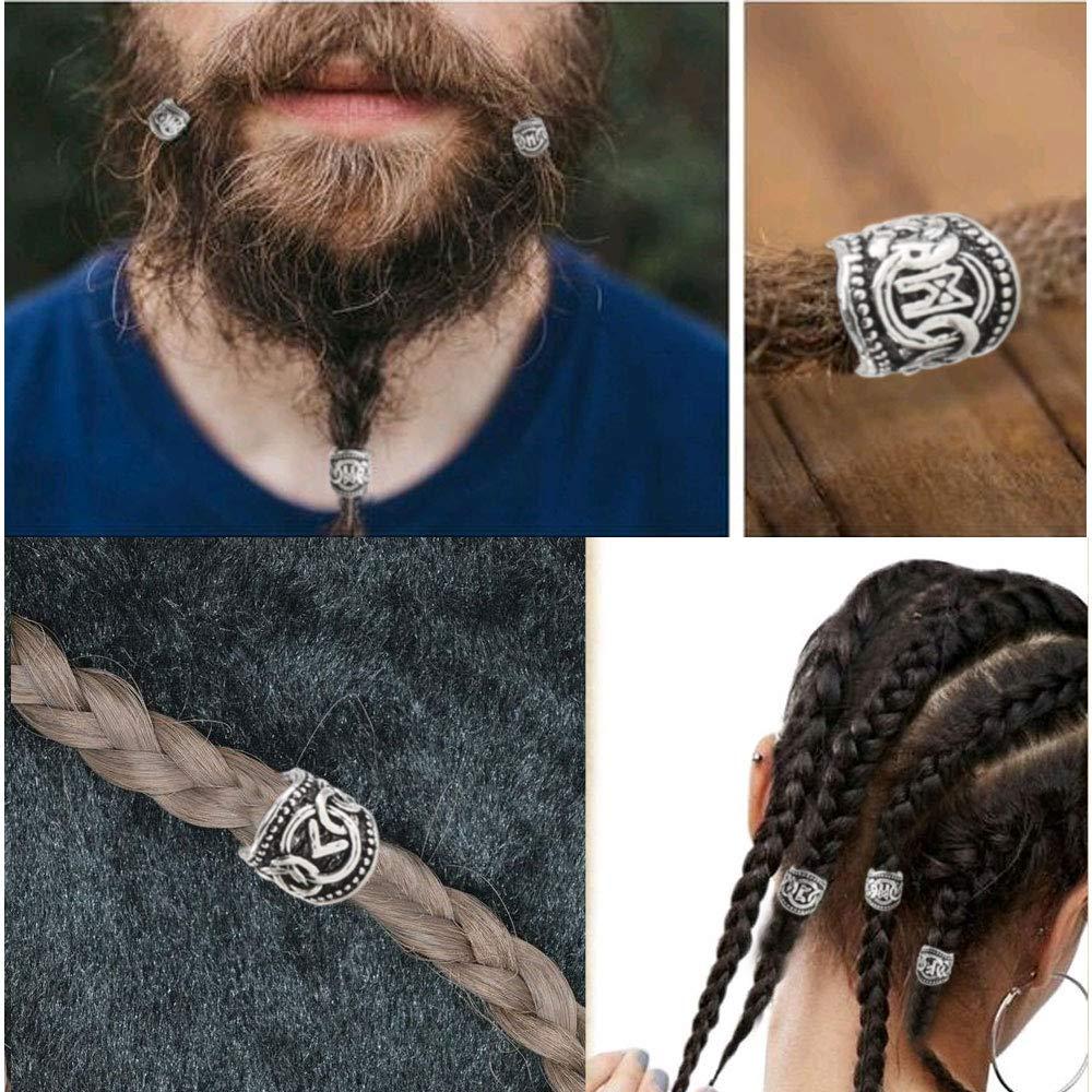 XHXSTORE 24 Pcs Perles de Rune Perle Viking Perles pour Barbe Cheveux Tresse Dreadlocks Barbiche Viking Beard Beads