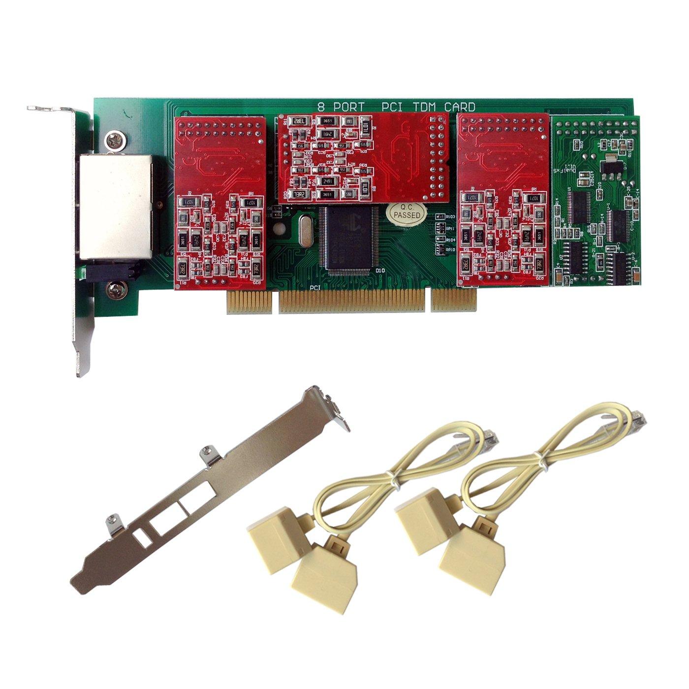 X800P Tarjeta Asterisk con 6 puertos FXO y 2 puertos FXS, Conector PCI. Elastix,Freepbx VOIP: Amazon.es: Bricolaje y herramientas