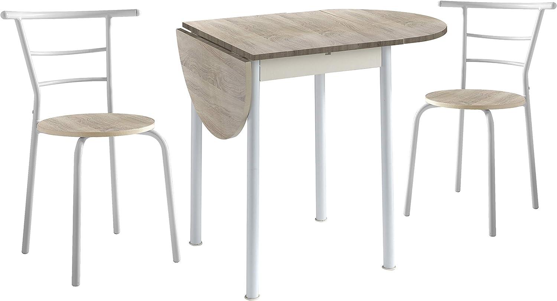 Conjunto Mesa de Cocina Extensible y 2 Sillas - Modelo Leva - Estilo Moderno - Acabado Color Roble/Blanco - Material MDF/Metal - Medidas 55/115 x 61 x 74 cm