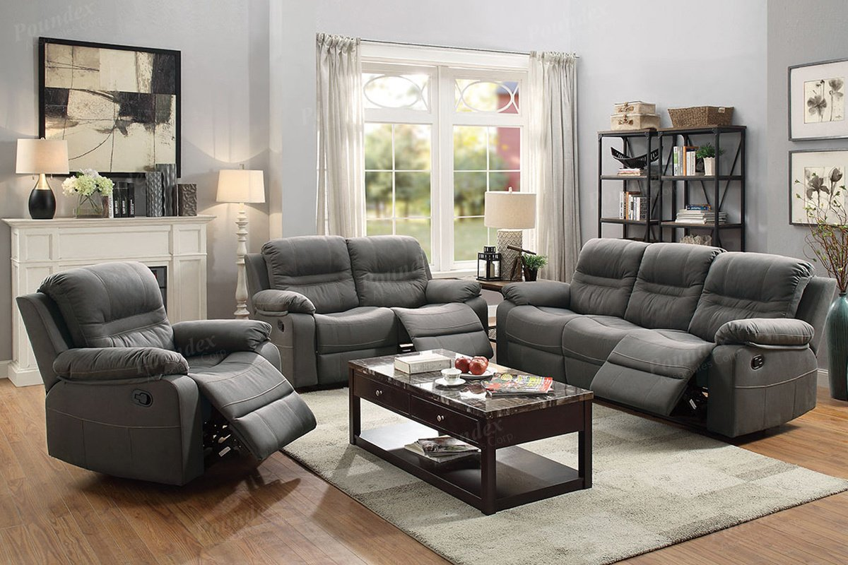 Amazon.com: 3Pcs Modern Slate Blue Leather Motion Sofa ...