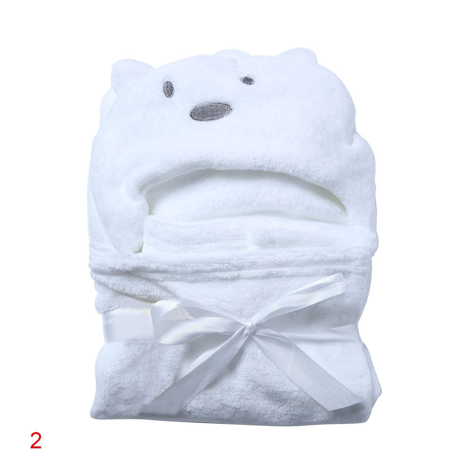 Baby Boys/Girls Bath Bathrobe Cute Bear Hooded Fleece Infant Toddler Bathing Wrap Towel Blanket For Kid 0-6 Years Old Aolvo