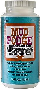 Mod Podge Dishwasher Safe Waterbase Sealer, Glue and Finish (16-Ounce), CS25139 Gloss