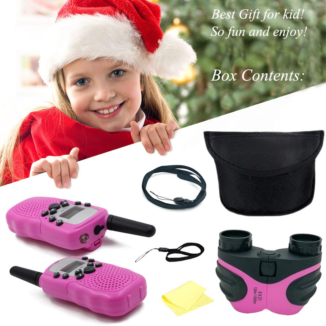 YYhappy childhood Outdoor Toys for 3-12 Year Old Boys, Walkie Talkies for Kids Toys for 3-12 Year Old Girls,Kids Binoulars for 4-9 Year Old Girl Birthday Gift ,1 Set(Pink) by YYhappy childhood (Image #5)