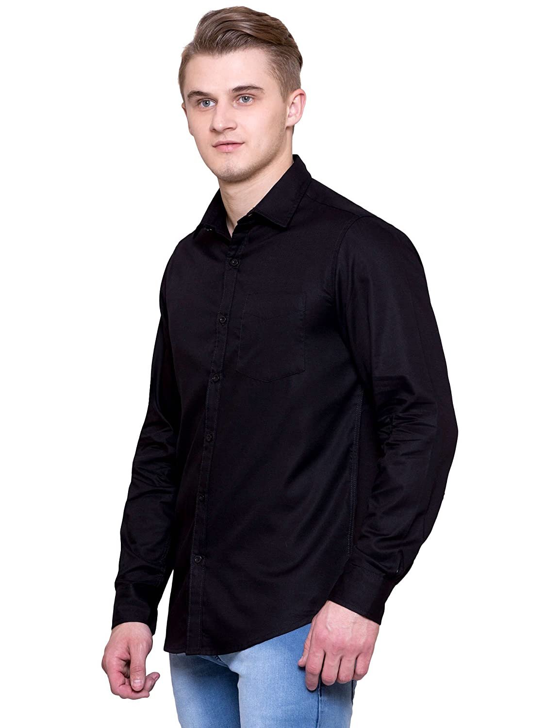 d5cb67dd36 JScottwitchy Men s Pure Cotton Casual Semi Formal Slim Fit Black Shirt   Amazon.in  Clothing   Accessories