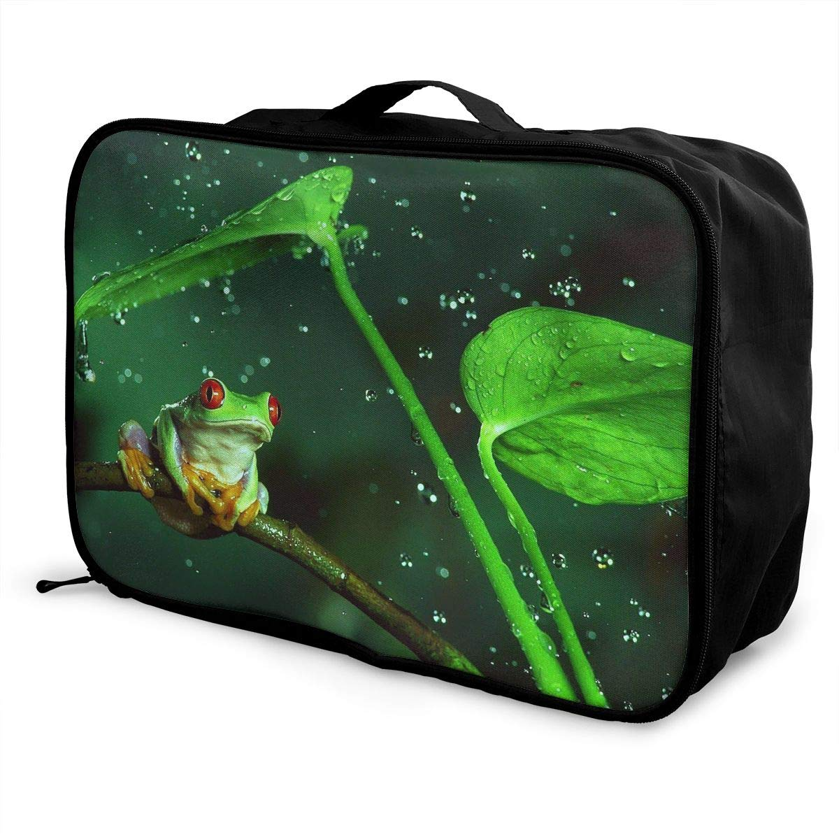 Travel Luggage Duffle Bag Lightweight Portable Handbag Red Eye Frog Large Capacity Waterproof Foldable Storage Tote