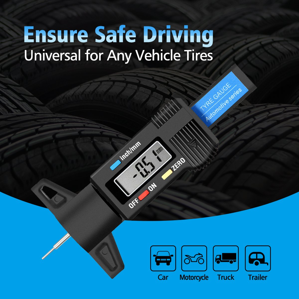 Audew Digital Tire Tread Depth Gauge - Digital Tire Gauge Meter Measurer LCD Display Tread Checker Tire Tester for Cars Trucks Vans SUV, Metric Inch Conversion 0-25.4mm by Audew (Image #5)