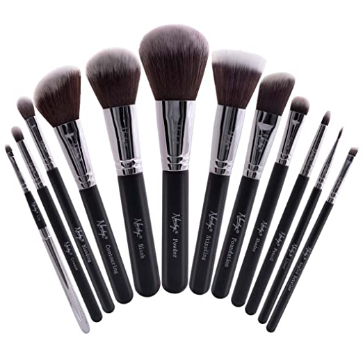 Nanshy Masterful Collection Professional Soft Vegan 12pcs Premium Labeled Makeup Brush Set Pro Artist Kit (Onyx Black)