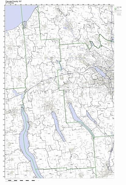 Amazon Com Cayuga County New York Ny Zip Code Map Not Laminated
