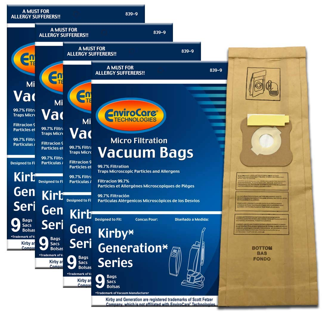 EnviroCare Replacement Micro Filtration Vacuum Bags for Kirby Generation Series 3, 4, 5, 6. 36 Pack