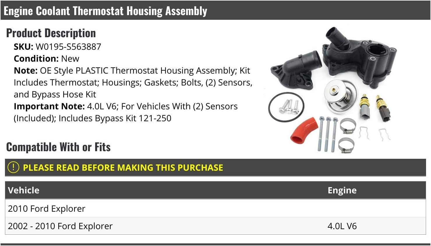 Engine Coolant Thermostat Housing Assembly Compatible with 2002-2010 Ford Explorer 4.0L V6