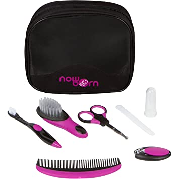 Baby Grooming Kit - 7 Piece Healthcare Set – Black and Purple Unisex Color Toiletries