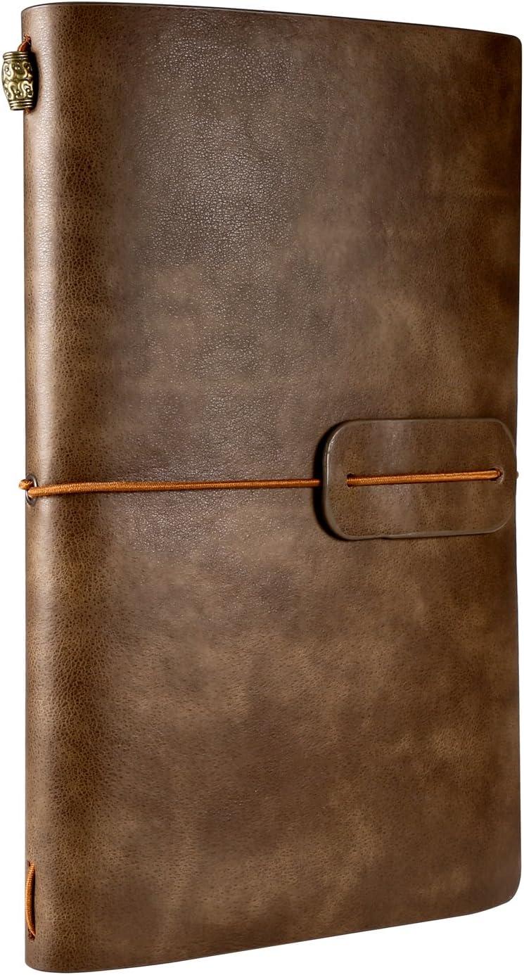 Cuaderno de Cuero, Rymall Cuaderno de Notas de Cuero, Libreta de Viaje Vintage, Cuaderno Vintage Agenda, Diario Cuero Vintage & Diario para Escribir o Viajes, 4.72 X 7.87 lnch
