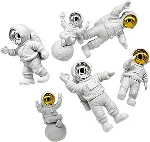 ARTOVOM Astronaut Figures Toys, Astronaut Decor, Astronaut Space Toys Planet Resin Statues, Space Gifts Ornament Desktop Decoration, for Kids Room Bedroom Bookshelf Silver Walk